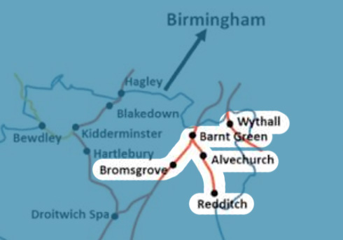 Bromsgrove-to-Redditch-Line-with-Wythall stations map