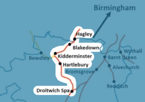 Droitwich-Spa-to-Hagley-Line map