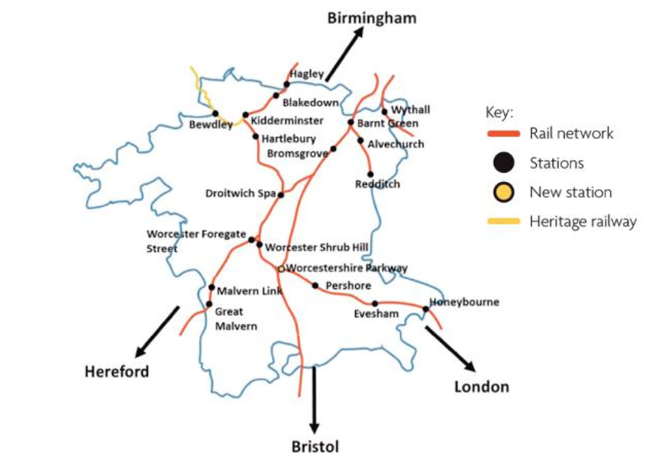 Map of Worcestershire showing rail lines and all stations