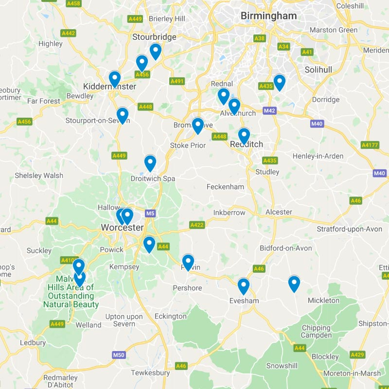 Click for a Google Map of the <br />Worcestershire Rail Stations
