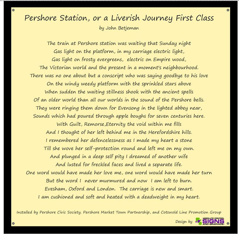 Pershore Station poem by John Betjeman