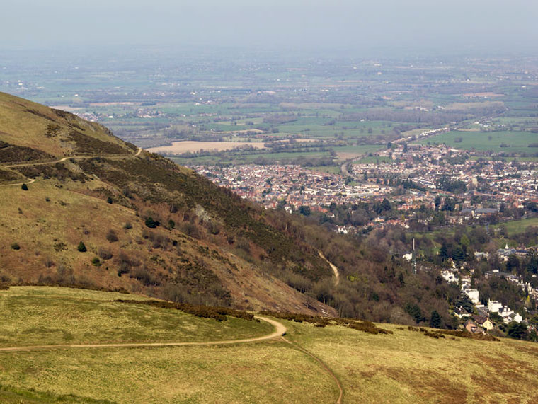 A view from the Worcestershire Beacon towards Malvern town
