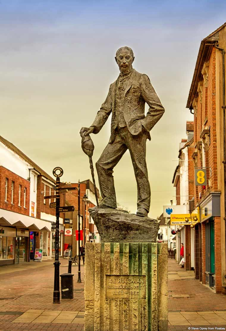 The statue of poet A E Housman on Bromsgrove High Street