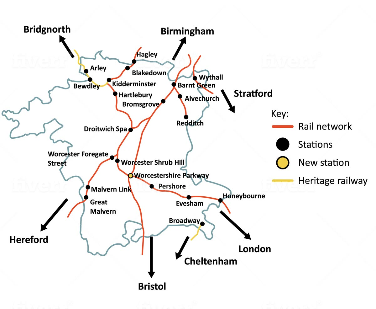 Map of Worcestershire showing all rail lines and stations