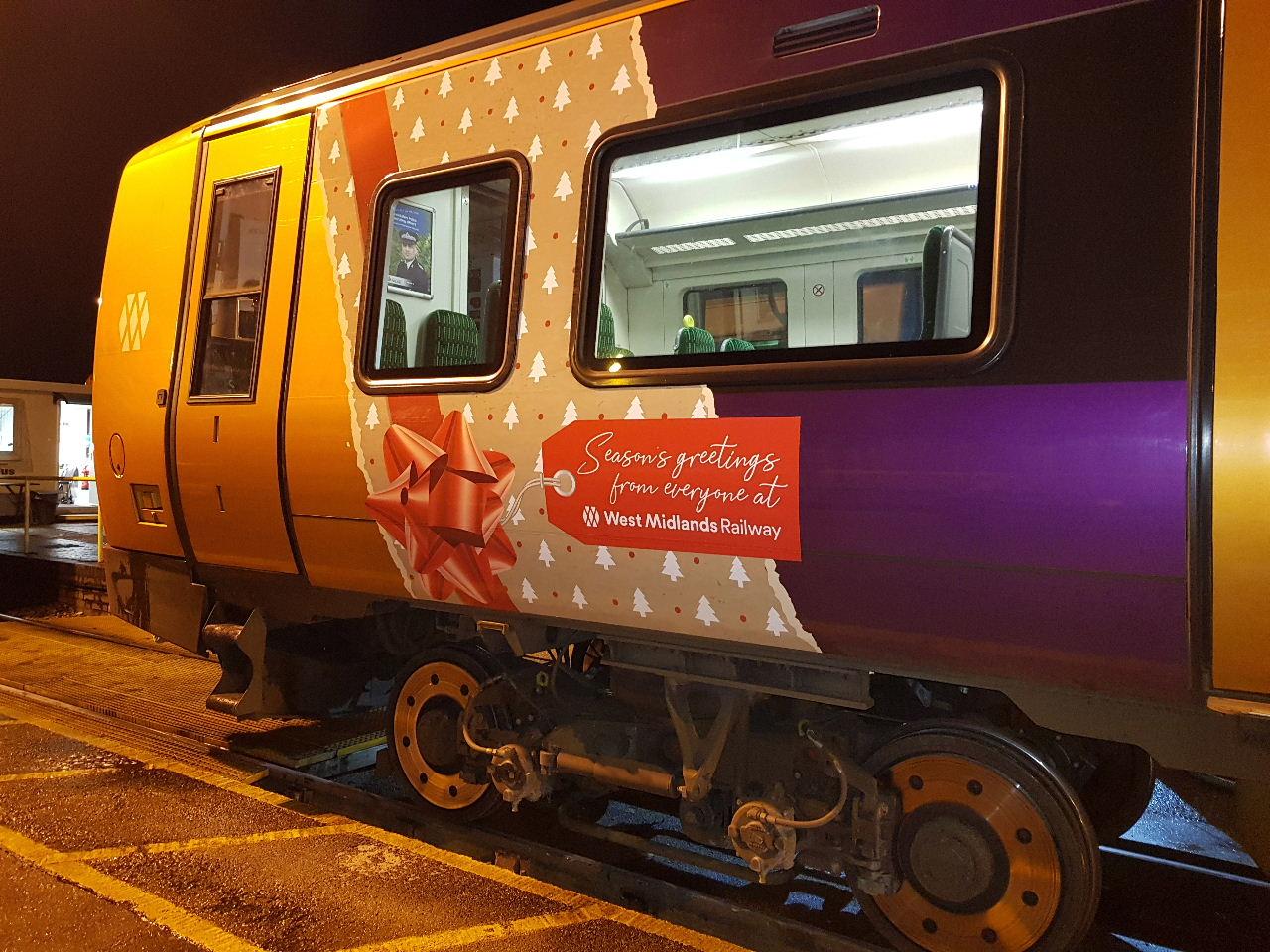 WMR train dsiplaying Christmas Greetings