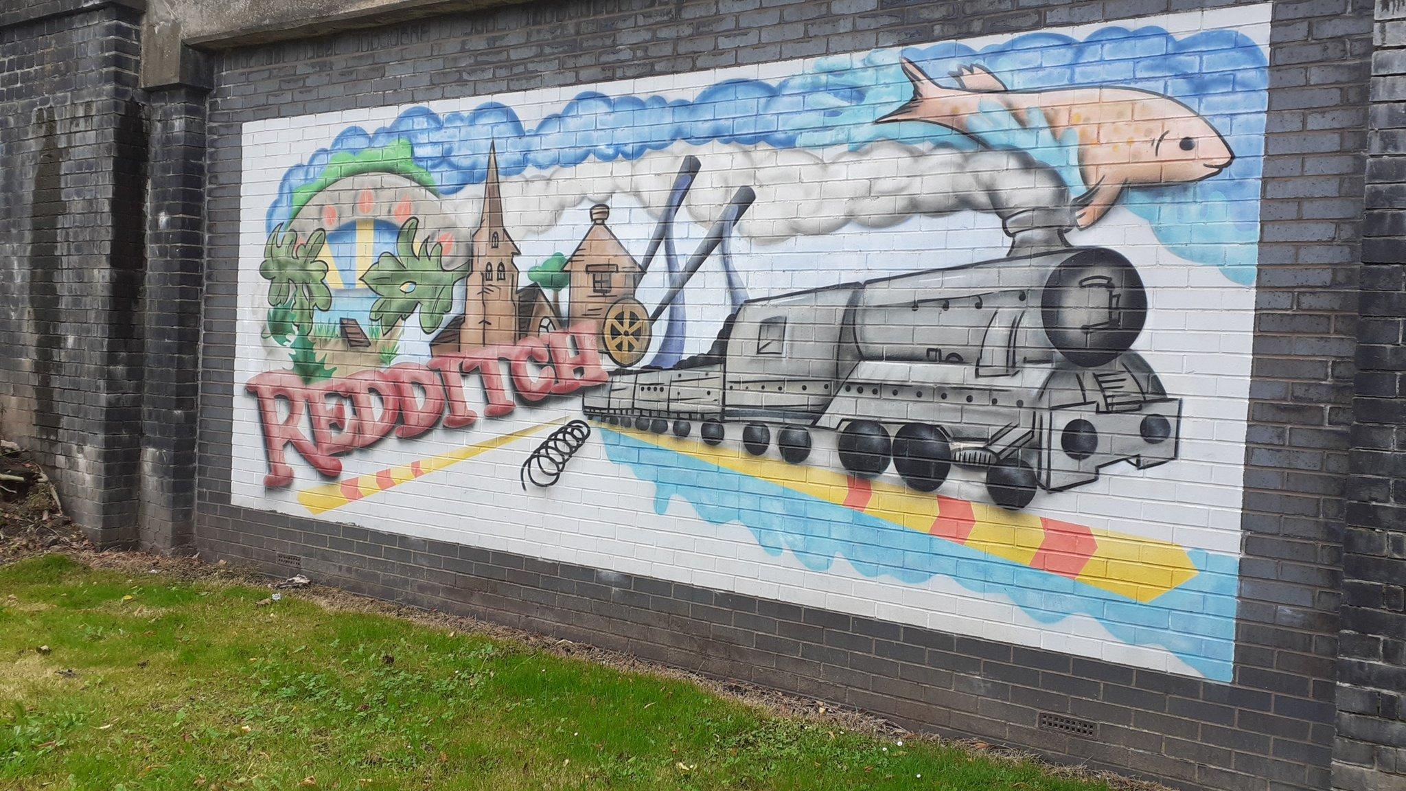 Redditch Train mural