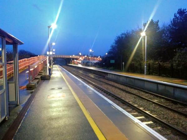 Honeybourne station at night