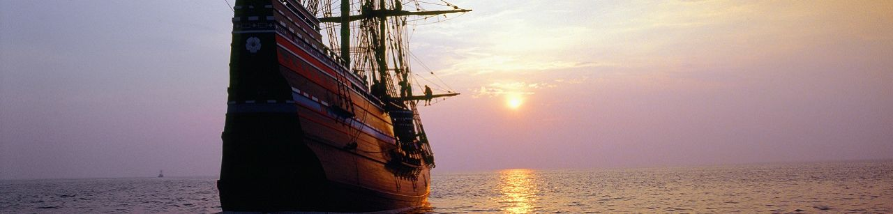 Mayflower Ship sunset at sea