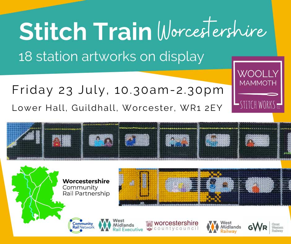 Stitch Train Worcestershire event poster