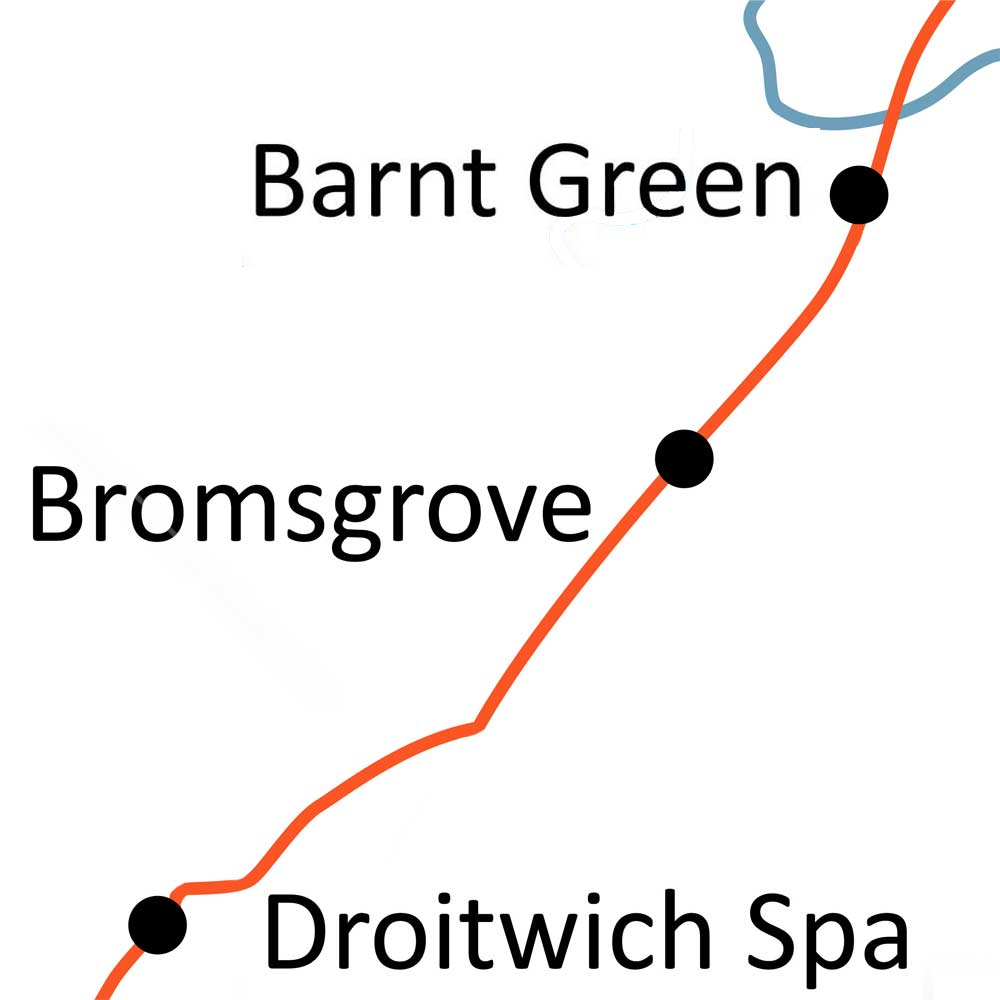 Barnt Green to Droitwich Spa railway line map