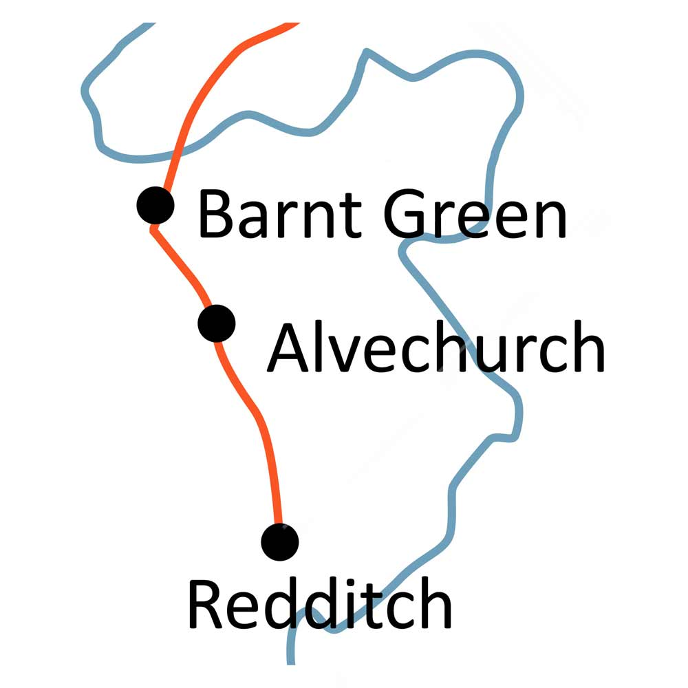 Barnt Green to Droitwich railway line map