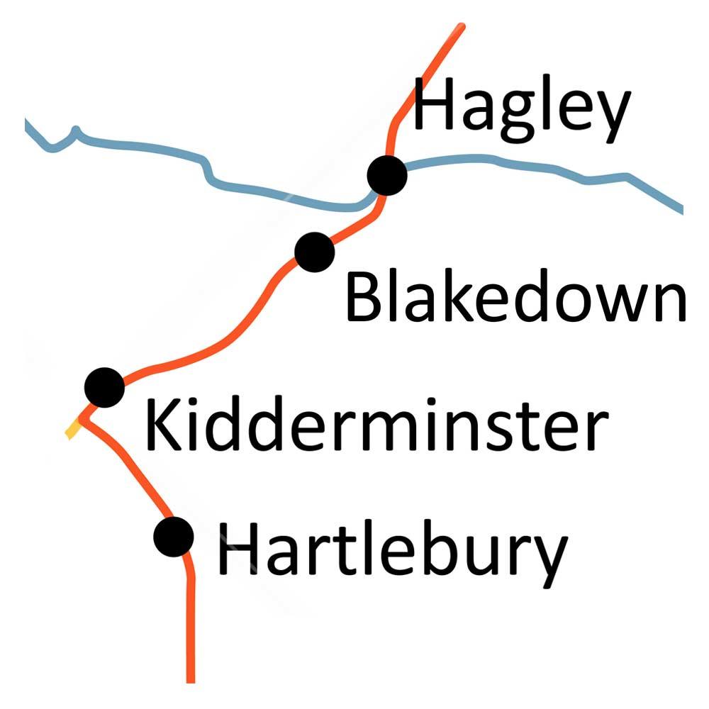 Hagley to Hartlebury railway line map